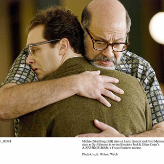 Michael Stuhlbarg stars as Larry Gopnik and Fred Melamed stars as Sy Ableman in Focus Features' A Serious Man (2009). Photo credit by Wilson Webb.