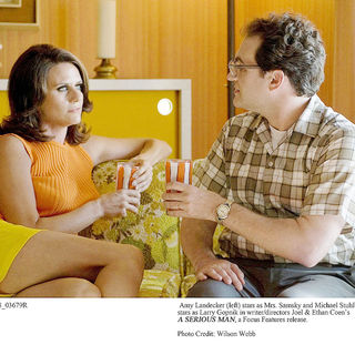 Amy Landecker stars as Mrs. Samsky and Michael Stuhlbarg stars as Larry Gopnik in Focus Features' A Serious Man (2009). Photo credit by Wilson Webb.