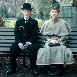 Glenn Close stars as Albert Nobbs and Mia Wasikowska stars as  Helen Dawes in Roadside Attractions' Albert Nobbs (2012)