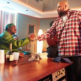 Demetrius Shipp Jr. stars as Tupac Shakur and Dominic L. Santana stars as Suge Knight in Summit Entertainment's All Eyez on Me (2017)
