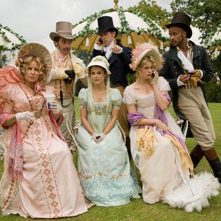 James Callis, JJ Feild, Ricky Whittle, Jennifer Coolidge, Keri Russell and Georgia King in Sony Pictures Classics' Austenland (2013) - austenland01