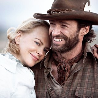 Nicole Kidman stars as Lady Sarah Ashley and Hugh Jackman stars as The Drover in The 20th Century Fox's Australia (2008). Photo credit by James Fisher.