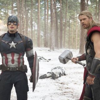 Avengers: Age of Ultron - Chris Evans stars as Steve Rogers/Captain America and Chris Hemsworth stars as Thor in Walt Disney Pictures' Avengers: Age of Ultron (2015)