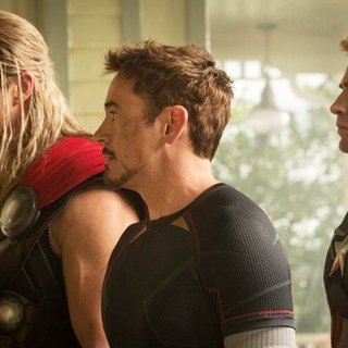 Chris Hemsworth, Robert Downey Jr. and Chris Evans in Walt Disney Pictures' Avengers: Age of Ultron (2015) - avengers-2-03
