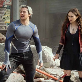 Avengers: Age of Ultron - Aaron Johnson stars as Pietro Maximoff/Quicksilver and Elizabeth Olsen stars as Wanda Maximoff/Scarlet Witch in Walt Disney Pictures' Avengers: Age of Ultron (2015)