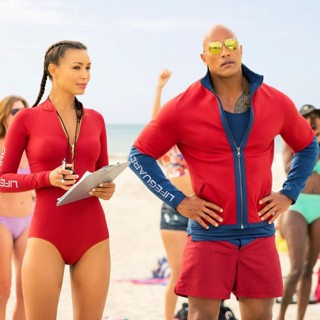 Baywatch - Ilfenesh Hadera stars as Stephanie Holden and The Rock stars as Mitch Buchannon in Paramount Pictures' Baywatch (2017)