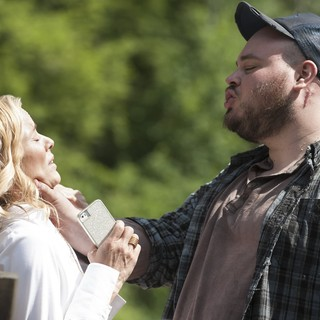 Maria Bello stars as Tess Thorne and Will Harris stars as Lester in Lifetime's Big Driver (2014)