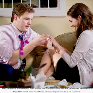 Chris Pratt stars as Fletcher and Anne Hathaway stars as Emma in Fox 2000 Pictures' Bride Wars (2009). Photo credit by Claire Folger.