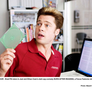 Brad Pitt stars as Chad Feldheimer in Focus Features' Burn After Reading (2008). Photo credit by Macall Polay.