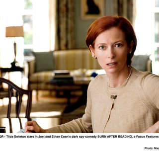 Tilda Swinton stars as Katie Cox in Focus Features' Burn After Reading (2008). Photo credit by Macall Polay.