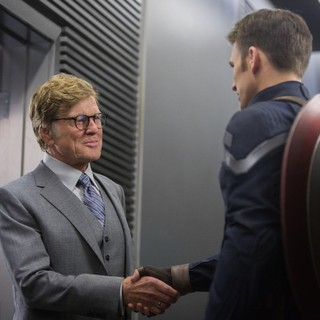 Captain America: The Winter Soldier - Robert Redford stars as Alexander Pierce and Chris Evans stars as Steve Rogers/Captain America in Walt Disney Pictures' Captain America: The Winter Soldier (2014)