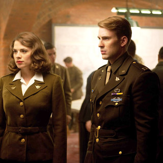 Hayley Atwell stars as Peggy Carter and Chris Evans stars as Steve Rogers in Paramount Pictures' Captain America: The First Avenger (2011). Photo credit by: Jay Maidment.