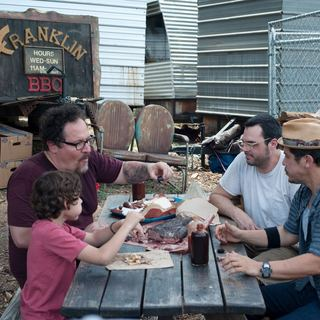 Jon Favreau, Emjay Anthony, Aaron Franklin and John Leguizamo in Open Road Films' Chef (2014)