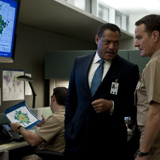 Laurence Fishburne stars as Dr. Ellis Cheever and Bryan Cranston stars as Lyle Haggerty in Warner Bros. Pictures' Contagion (2011) - contagion-still10