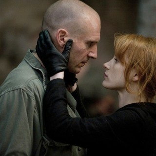 Ralph Fiennes stars as Coriolanus and Jessica Chastain stars as Virgilia in The Weinstein Company's Coriolanus (2012)