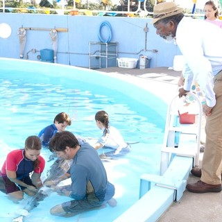 Nathan Gamble, Harry Connick Jr., Cozi Zuehlsdorff and Morgan Freeman in Warner Bros. Pictures' Dolphin Tale (2011)