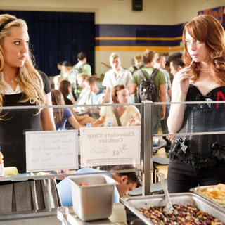 Amanda Bynes stars as Marianne and Emma Stone stars as Olive Penderghast in Screen Gems' Easy A (2010)