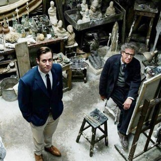 Armie Hammer stars as James Lord and Geoffrey Rush stars as Alberto Giacometti in Sony Pictures Classics' Final Portrait (2018)