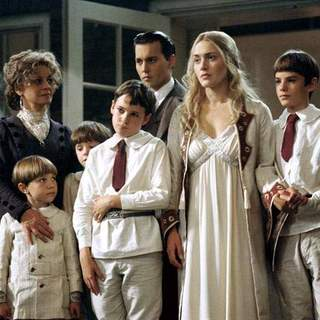 Julie Christie, Johnny Depp, Joe Prospero, Nick Roud, Freddie Highmore, Luke Spill and Kate Winslet in Miramax Films' Finding Neverland (2004) - finding_neverland_10
