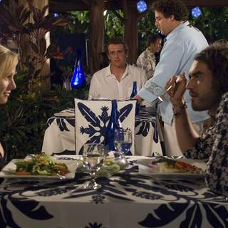 Kristen Bell, Russell Brand, Jason Segel and Jonah Hill in Universal Pictures' Forgetting Sarah Marshall (2008) - foc_26