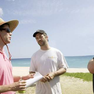 Director Nicholas Stoller, producer Judd Apatow and Jason Segel on the set of Universal Pictures' Forgetting Sarah Marshall (2008)