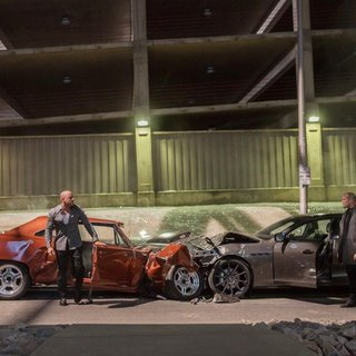 Furious 7 - Vin Diesel stars as Dominic Toretto and Jason Statham stars as Deckard Shaw in Universal Pictures' Furious 7 (2015). Photo credit by Scott Garfield.