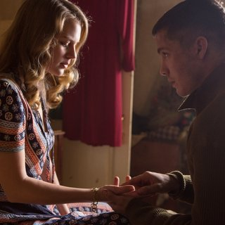 Alicia von Rittberg stars as Emma and Logan Lerman stars as Norman Ellison in Columbia Pictures' Fury (2014) - fury-picture01