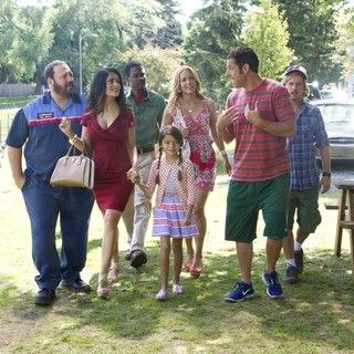 Kevin James, Salma Hayek, Chris Rock, Maya Rudolph, Adam Sandler and David Spade in Columbia Pictures' Grown Ups 2 (2013)