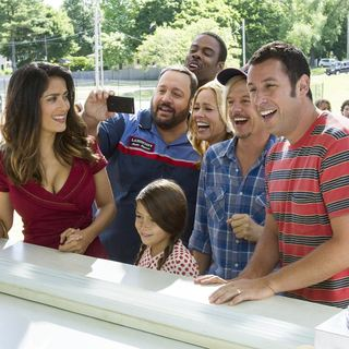 Salma Hayek, Kevin James, Chris Rock, Maya Rudolph, David Spade and Adam Sandler in Columbia Pictures' Grown Ups 2 (2013)