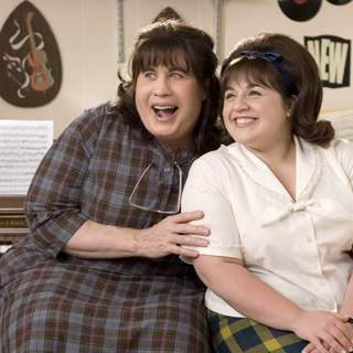 John Travolta as Edna Turnblad and Nikki Blonsky as Tracy Turnblad in New Line Cinema's Hairspray (2007)