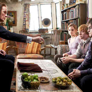 Bill Nighy, Daniel Radcliffe, Rupert Grint and Emma Watson in Warner Bros. Pictures' Harry Potter and the Deathly Hallows: Part I (2010)