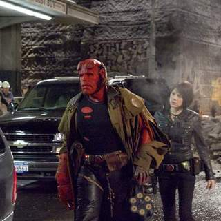 Ron Perlman as Hellboy and Selma Blair as Liz in Universal Pictures' Hellboy II: The Golden Army (2008)
