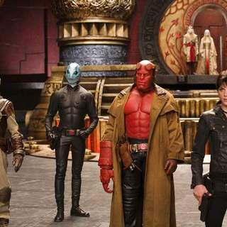 Doug Jones as Abe Sapien, Ron Perlman as Hellboy and Selma Blair as Liz in Universal Pictures' Hellboy II: The Golden Army (2008)