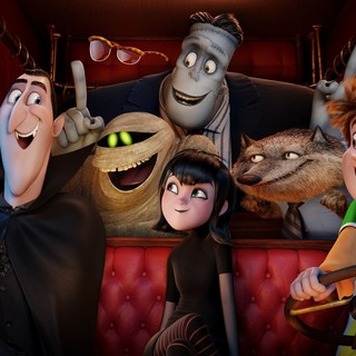 Dracula, Griffin the Invisible Man, Murray the Mummy, Frankenstein, Mavis, Wayne and Jonathan in Columbia Pictures' Hotel Transylvania 2 (2015)