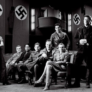 Melanie Laurent, Christoph Waltz, Omar Doom, Daniel Bruhl, Director Quentin Tarantino, Eli Roth, Diane Kruger and Brad Pitt in The Weinstein Company's Inglourious Basterds (2009)