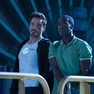 Iron Man 3 - Robert Downey Jr. stars as Tony Stark/Iron Man and Don Cheadle stars as James Rhodes/War Machine in Walt Disney Pictures' Iron Man 3 (2013)