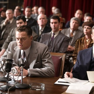 Leonardo DiCaprio stars as J. Edgar Hoover and Armie Hammer stars as Clyde Tolson in Warner Bros. Pictures' J. Edgar (2011). Photo credit by Keith Bernstein.