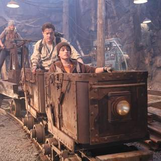 "Brendan Fraser stars as ""Trevor,"" Josh Hutcherson stars as ""Sean"" and Anita Briem stars as ""Hannah"" in JOURNEY TO THE CENTER OF THE EARTH 3D."