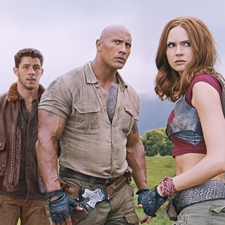 Nick Jonas, The Rock, Karen Gillan, Jack Black and Kevin Hart in Columbia Pictures' Jumanji: Welcome to the Jungle (2017)