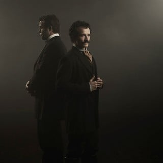 Billy Campbell stars as Abraham Lincoln and Jesse Johnson stars as John Wilkes Booth in National Geographic's Killing Lincoln (2013)