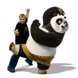 Kung Fu Panda - JACK BLACK voices Po, a clumsy panda unexpectedly chosen to fulfill an ancient prophecy and train in the art of kung fu, in DreamWorks' Kung Fu Panda (2008). Photo by Patrick Ecclesine.