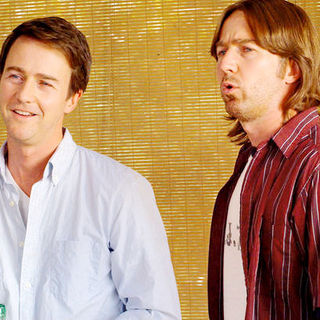 Edward Norton (Bill Kincaid/Brady Kincaid) and Tim Blake Nelson in Telepathic Studios' Leaves of Grass (2010)