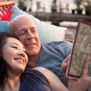 Xu Qing stars as Old Joe's Wife and Bruce Willis stars as Older Joe in TriStar Pictures' Looper (2012)