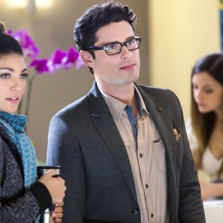 Jessica Szohr stars as Mira Simon and Ben Hollingsworth stars as Jonah in Hallmark Channel's Lucky in Love (2014). Photo credit by Bettina Strauss.