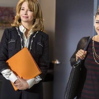 Deidre Hall stars as Erin Billings and Jessica Szohr stars as Mira Simon in Hallmark Channel's Lucky in Love (2014). Photo credit by Bettina Strauss.