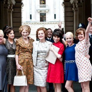 Nicola Duffett, Andrea Riseborough, Geraldine James, Miranda Richardson, Sally Hawkins, Jaime Winstone and Lorraine Stanley in Sony Pictures Classics' Made in Dagenham (2010). Photo by Susie Allnutt