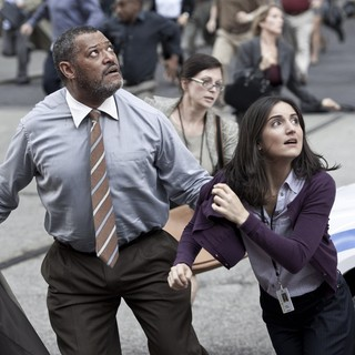 Laurence Fishburne stars as Perry White and Rebecca Buller stars as Jenny Olsen in Warner Bros. Pictures' Man of Steel (2013) - man-of-steel-still06