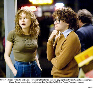 Alison Pill stars as Anne Kronenberg and Emile Hirsch stars as Cleve Jones in Focus Features' Milk (2008). Photo credit by Phil Bray. - milk21