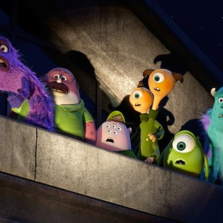 Monsters University - Art, Don Carlton, Scott 'Squishy' Squibbles, Terri & Terry Perry, Mike Wazowski and James P. Sullivan in Walt Disney Pictures' Monsters University (2013)