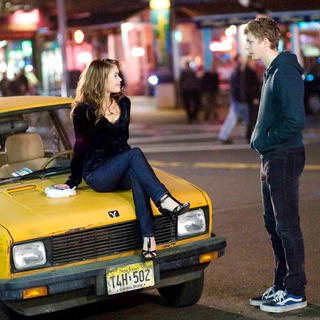 Alexis Dziena stars as Tris and Michael Cera stars as Nick in Sony Pictures' Nick and Norah's Infinite Playlist (2008). Photo credit by K.C. Bailey. - nanip20